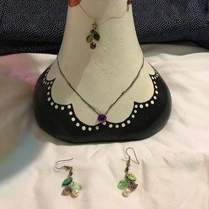 Jewelry - Handmade set by a friend, necklace earrings
